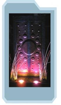Copper Bubble Wall Fountain Night