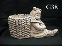 Girl & Basket Planter, Small
