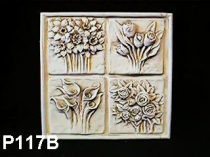 Large 4 Flower Plaque, Roses