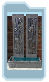 Twin Bamboo Copper Pillar Wall Fountain