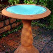 Terracotta Glazed Birdbath