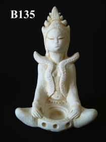 Balinese Figurine, Lady & Bowl