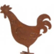 Rusted Iron Rooster Figurine - Large