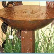 Cast Iron Bowl on Teak Pedestal Fountain
