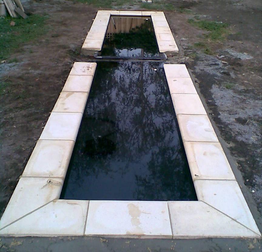 Two fibreglass ponds whitehouse gardens water feature for Fibreglass pond
